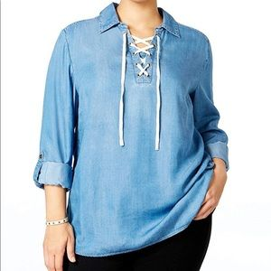 Style & Co Chambray Lace-up Top